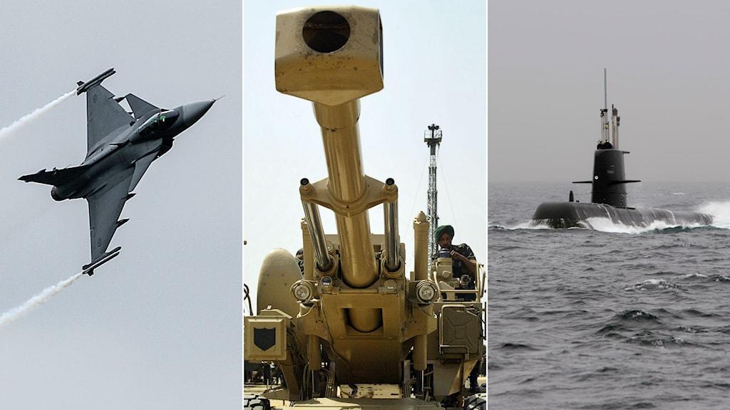 Tredelad bild: Gripenplan, Boforskanon, svensk ubåt.