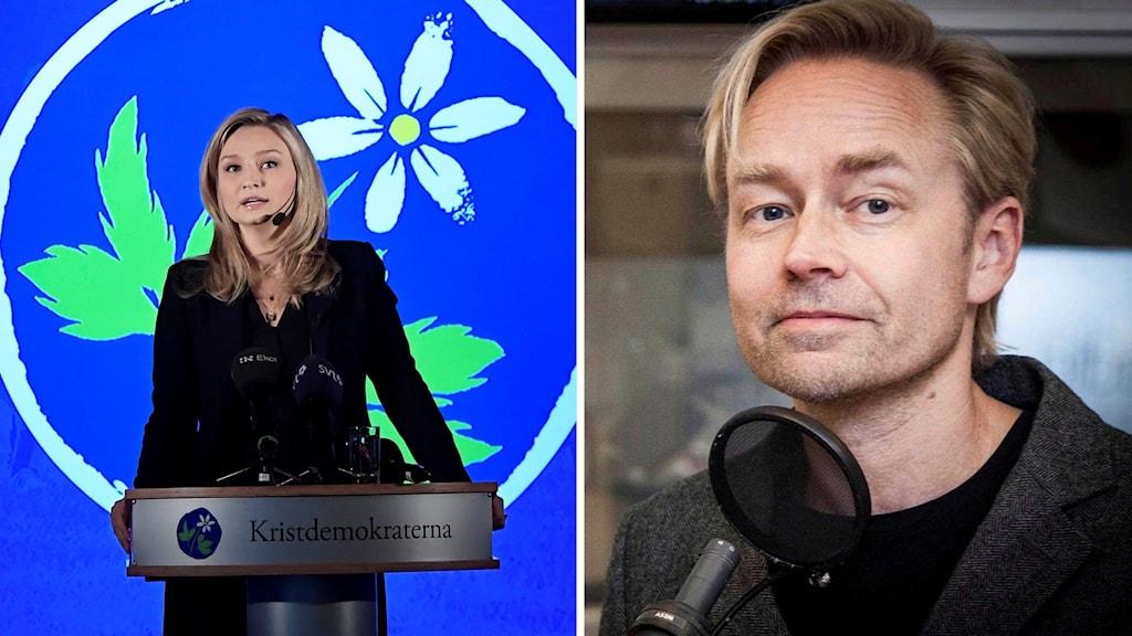 Kristdemokraternas partiledare Ebba Busch Thor och Ekots kommentator Fredrik Furtenbach.