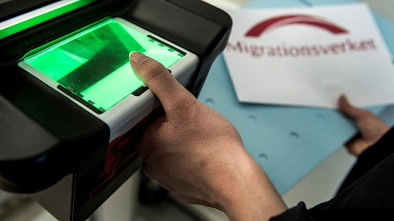 På Migrationsverket registreras fingeravtryck av asylsökande.