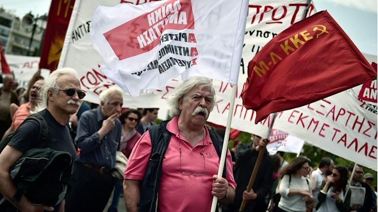 Anti-EU-demonstrationer i Athen första maj. Foto: Louisa Gouliamaki/TT.