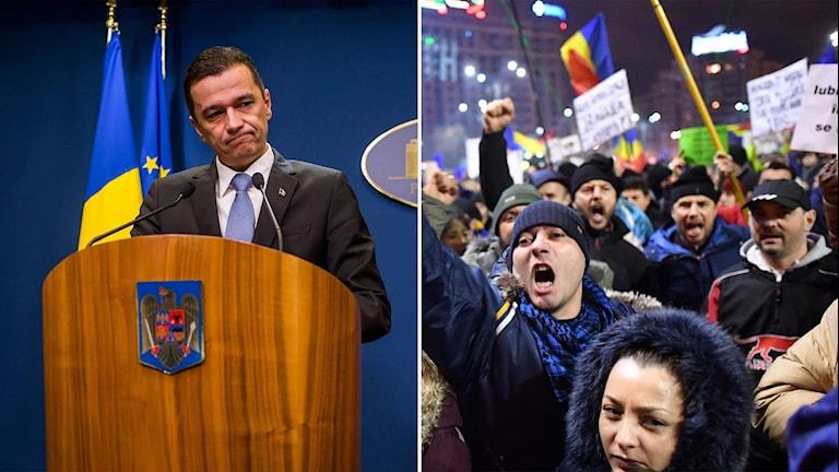 Rumäniens premiärminister Sorin Grandeanu  och demonstrerande rumäner