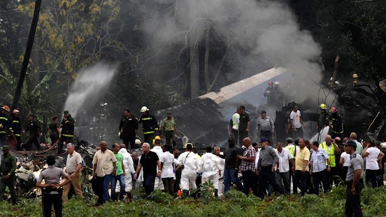 Räddningsarbeten efter flygkrasch nära Havanna