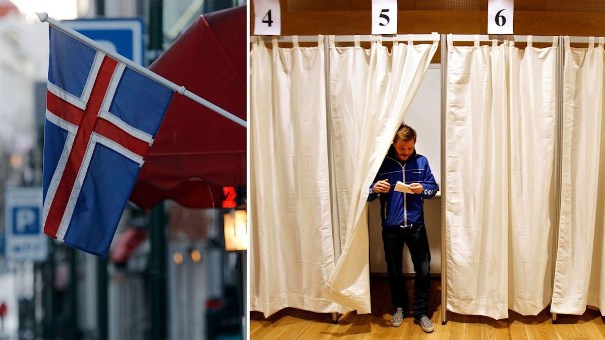 Bildmontage av en man i en röstlokal samt en isländsk flagga.