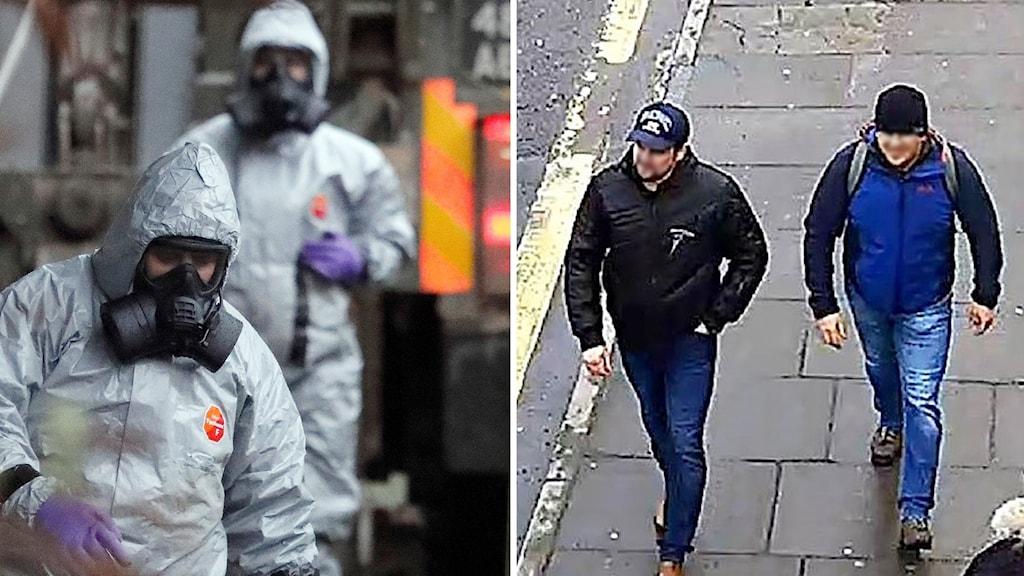 Män men gasmask och två män på en gata med blurrade ansikten.