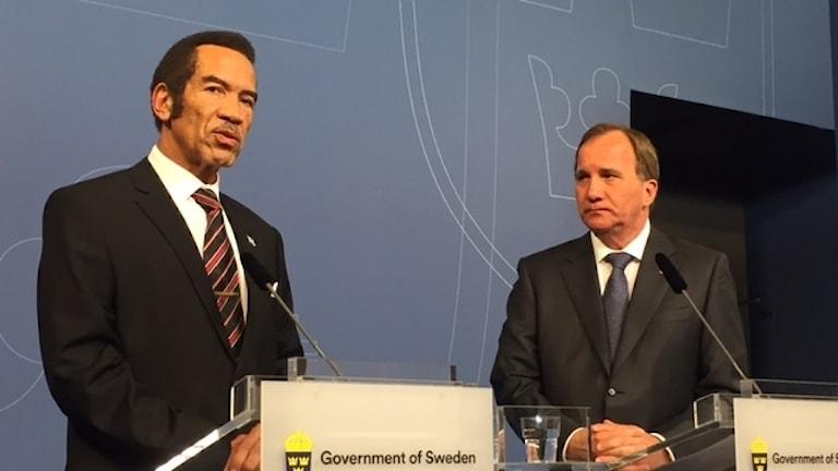 Botswanas president Ian Khama efter överläggningar med statsminister Stefan Löfven.