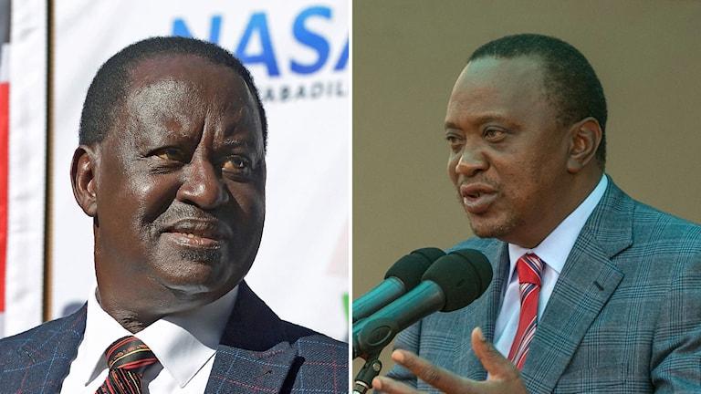 Bildkollage med Raila Odinga och Uhuru Kenyatta.