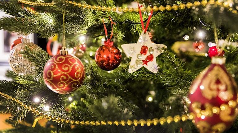 Julgran med pynt