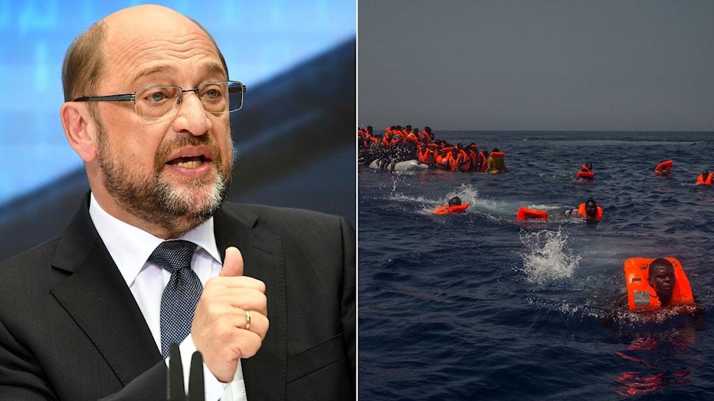Den tyske socialdemokratiske partiledaren Martin Schulz till höger, till vänster migranter i flytvästar simmar mot en räddningsbåt.
