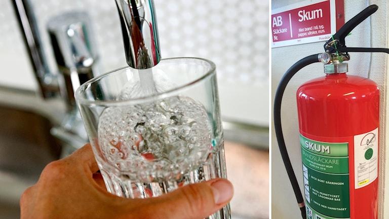 En vattenkran med ett glas under och en brandsläckare