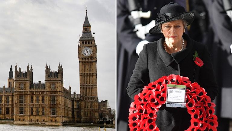 Big Ben och Theresa May under minnesceremonin.