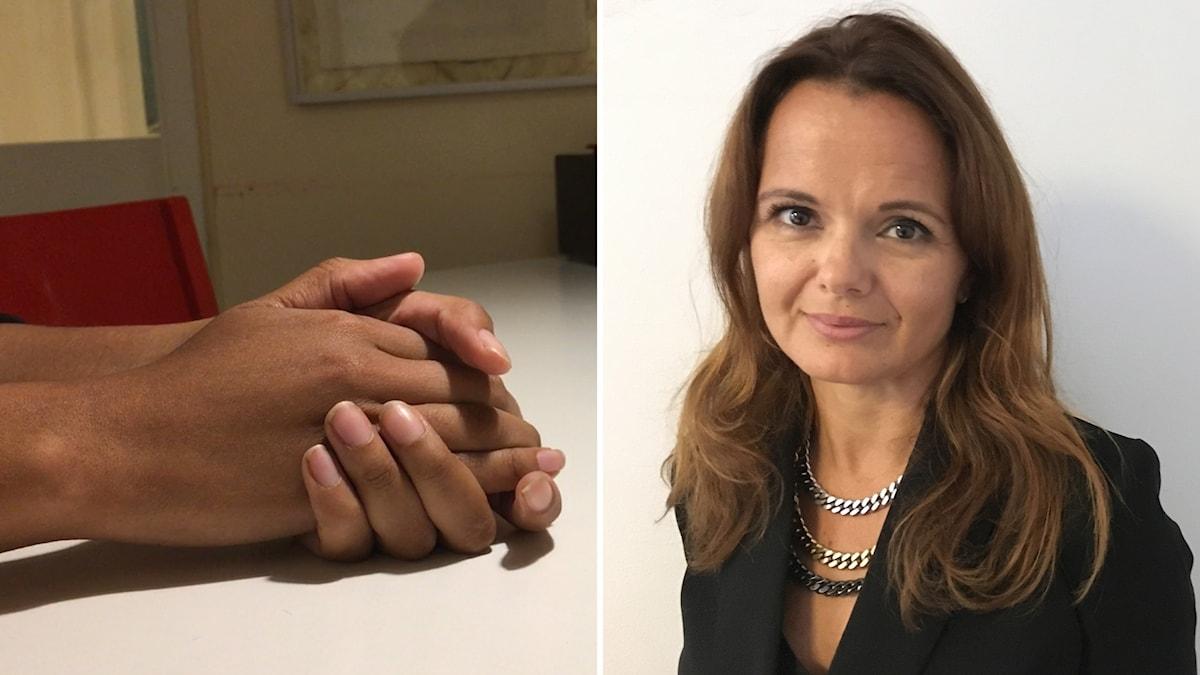 Bildkollage med händer och en kvinna.