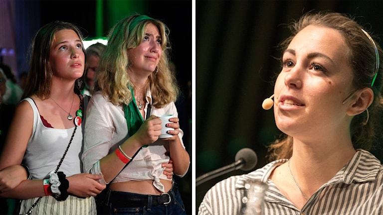 Mp:s valvaka och Hanna Lidström, språkrör för Grön Ungdom.