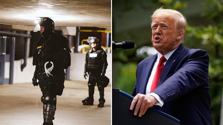Till vänster: polis i staden Richmond. Till höger: USA:s president Donald Trump.