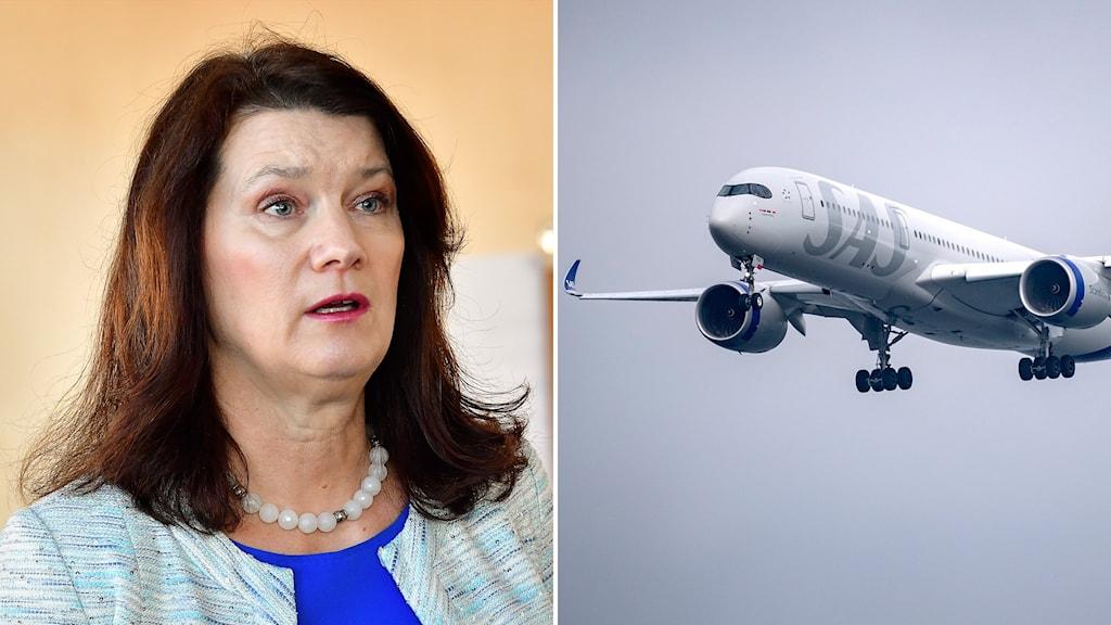 Montage med utrikesminister Ann Linde och ett sas-plan