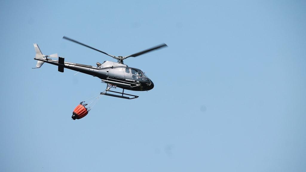 Helikopter som drar på vatten.