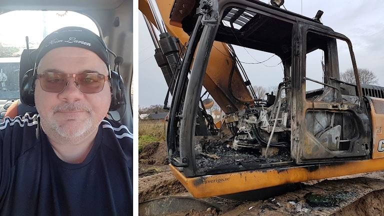 Kollage: Fredriko Fredriksson och den utbrända grävmaskinen.