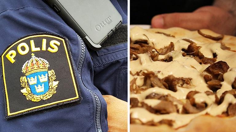 Kollage: Polisemblem och pizza.