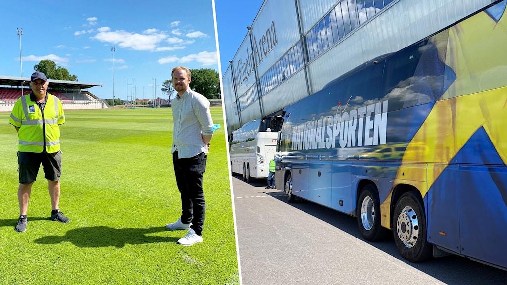 Montage med en buss och två personer på en fotbollsplan.