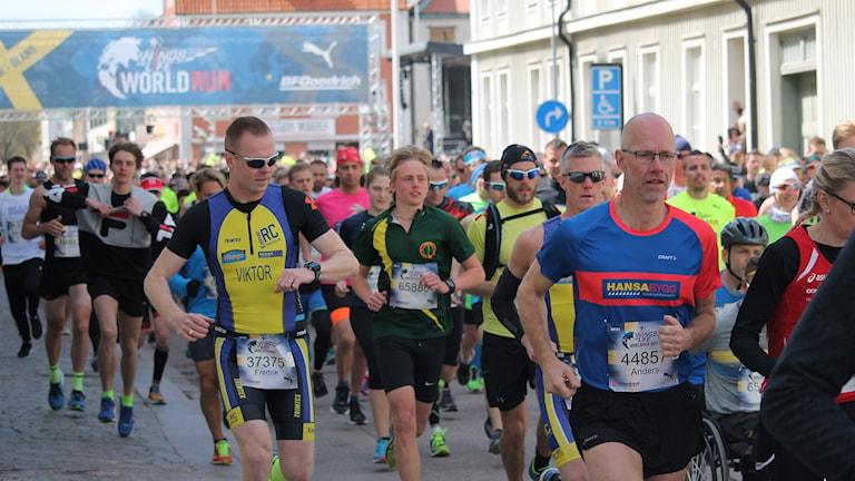 Massor med löpare som springer mot kameran.