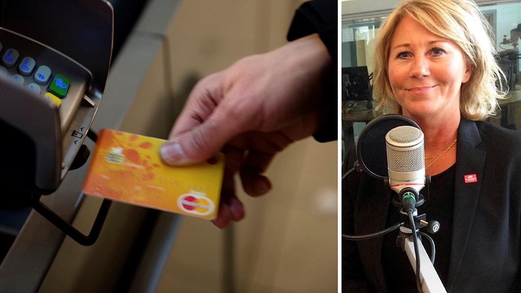 Bild på betalkort och bredvid en bild på Ingeborg Eriksson.