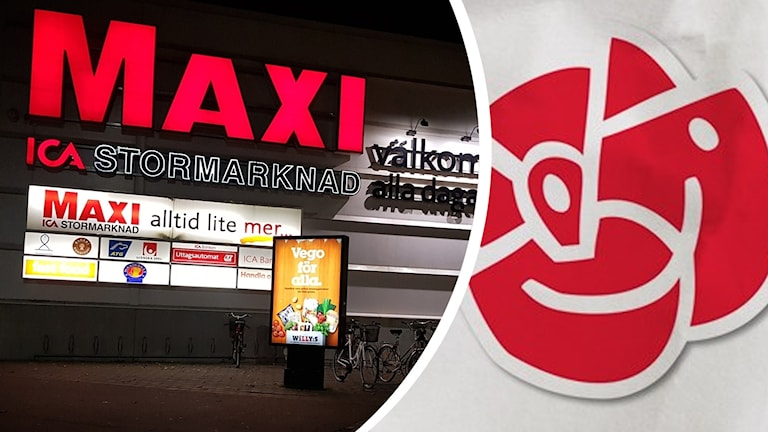 Maxi och Socialdemokraternas logotyp.