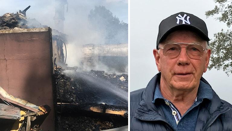 Till vänster brandruiner, till höger en man med glasögon och keps.