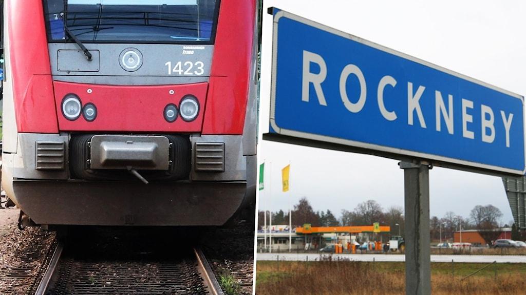 """Ett tåg och en skylt med texten """"Rockneby."""""""