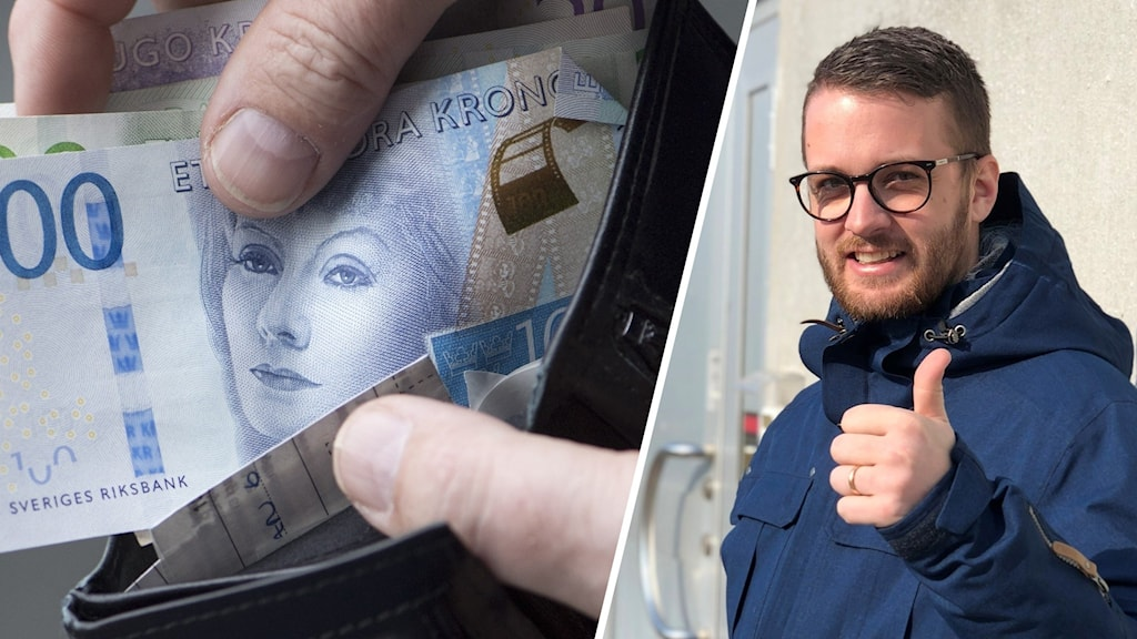 Bild på sedlar i plånbok och en man som gör tummen upp.