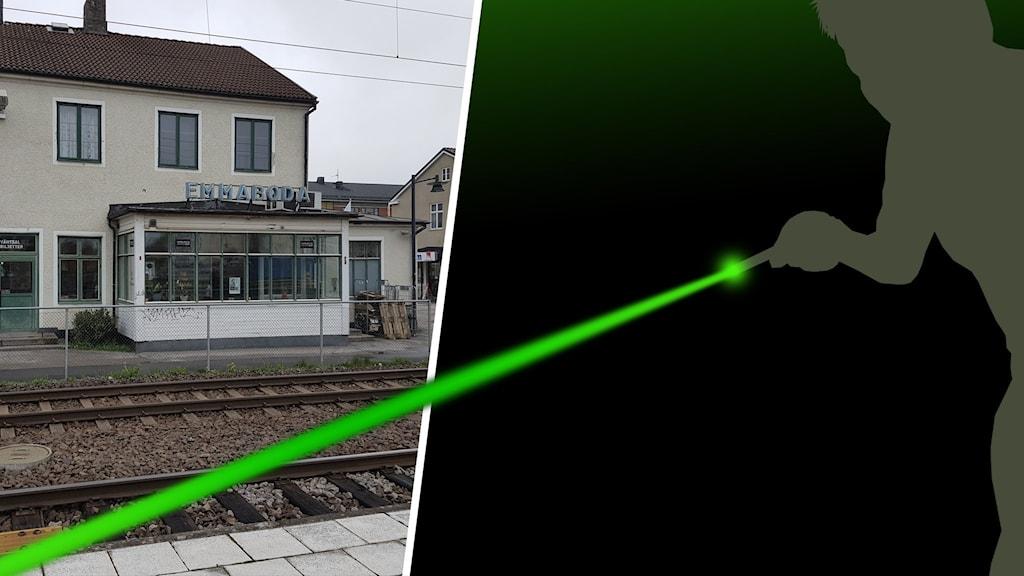 Laserstråle och järnvägsstation.