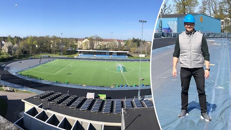 Olof Eriksson, anläggningschefen vid Arena Oskarshamn, inför bytet av allvädersbanor.