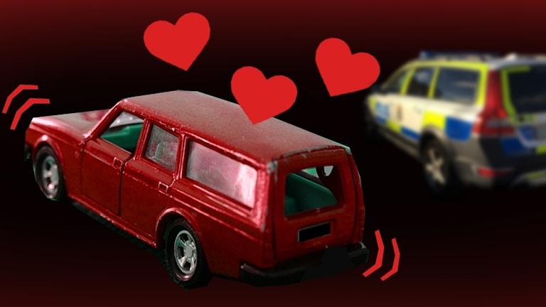 Bil med hjärtan och polisbil.