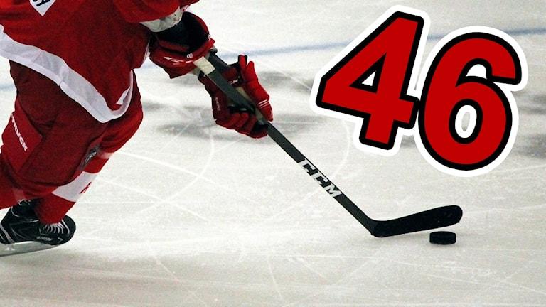Hockeyklubba och siffran 46.
