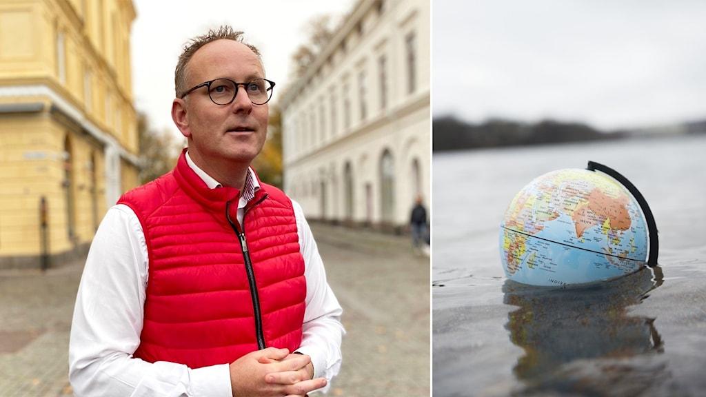 Johan Persson och jordglob i vatten.
