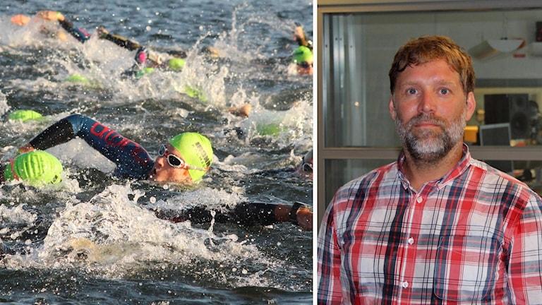 Kollage: Simmare i Ironman, Patrick Bergman, lektor i idrottsvetenskap vid Linnéuniversitetet.