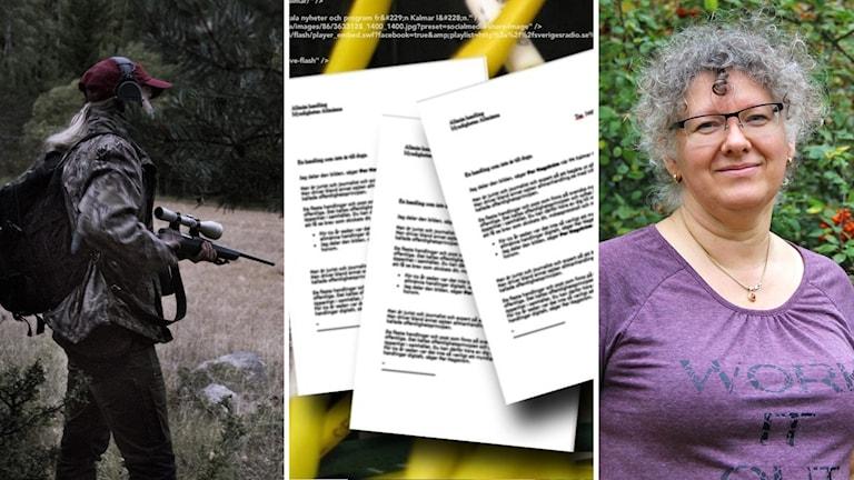 Ett bildmontage med tre bilder. Den ena visar en jägare, den andra några dokument och den tredje en kvinna i lila t-shirt.