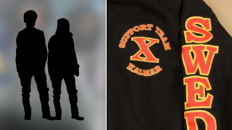 X-team-tröja och siluetter av ungdomar.