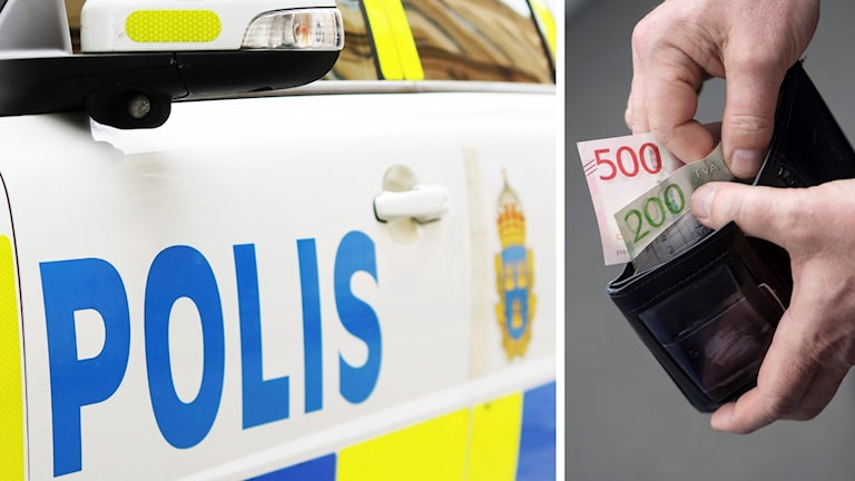 Polisbil och plånbok med pengar.