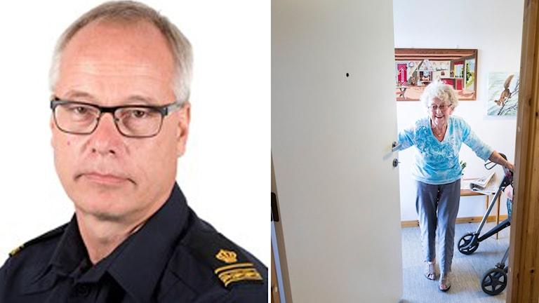 Polisens presstalesperson Robert Loeffel till vänster. Kvinna som glatt öppnar dörren till höger.