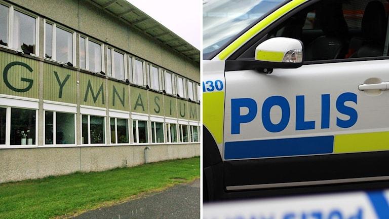 Västerviks gymnasium och polisbil.