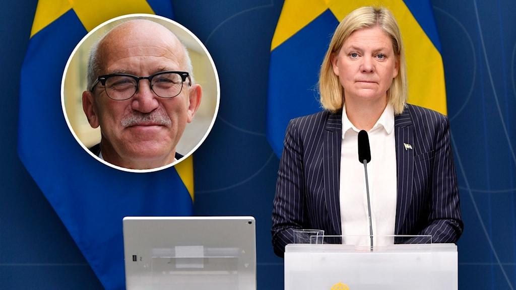 En bild på en kvinnlig politiker som står bakom ett podie med svenska flaggan bakom sig och en infälld bild på en man.