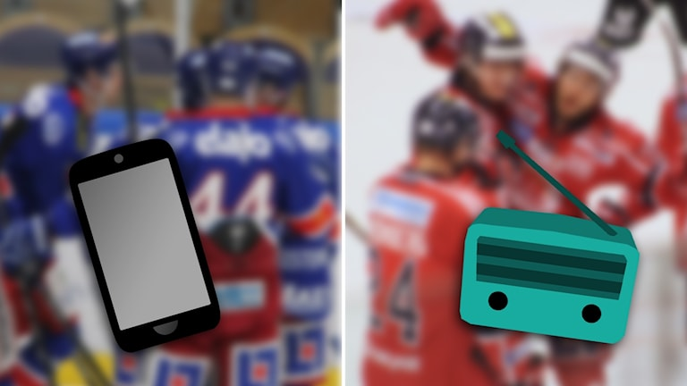Hockeyspelare, mobiltelefon och radioapparat.
