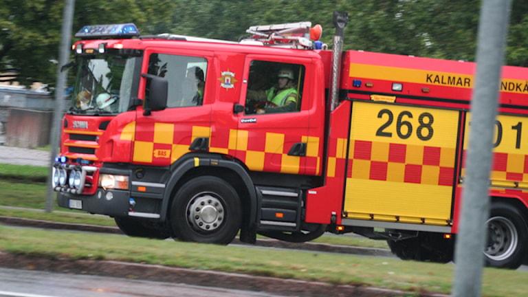 Brandbil från räddningstjänsten i Kalmar. Foto: Nick Näslund/Sveriges Radio
