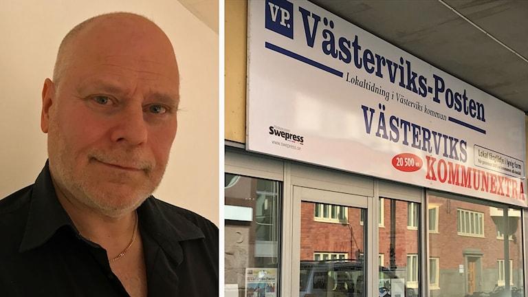 Kollage: journalisten Anders Sjögren/Västerviks-Postens entré.