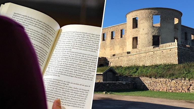 Person som läser bok och en bild på Borgholms slottsruin.
