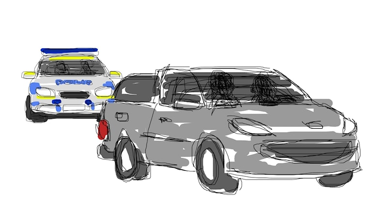 Illustration: Två bilar, varav en polisbil.