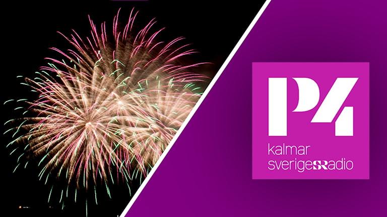 Fyrverkerier till vänster och till höger P4 Kalmars logotyp som är vit på rosa bakgrund.