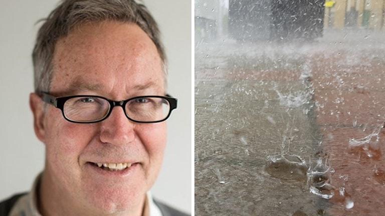 Mats Andersson och regn som piskar mot marken.