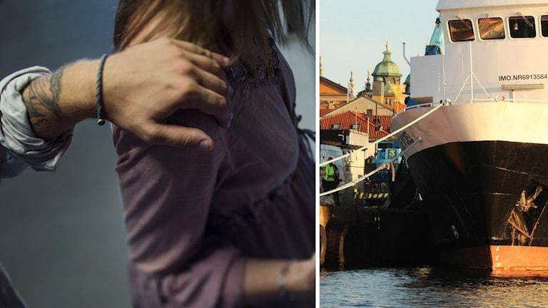 Arrangerad bild där kvinna blir utsatt för sexuella trakasserier. Fartyg.