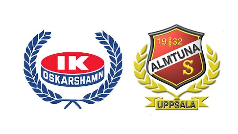 IK Oskarshamns och Almtunas klubbmärke.