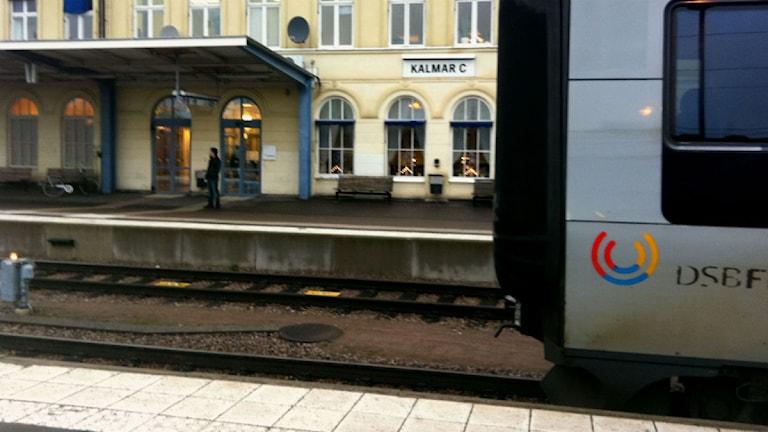 Kalmar central med Öresundståg i förgrunden.